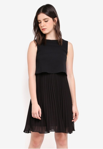 ZALORA black Pleated Bottom Dress F6872AA4DD9165GS_1