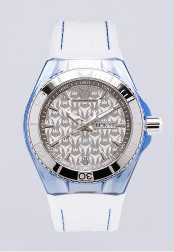 TECHNOMARINE silver Technomarine Cruise Men 46.65mm Case Blue, White Silicone Strap Grey Dial Quartz Watch TM-115065 TE359AC0F9SESG_1