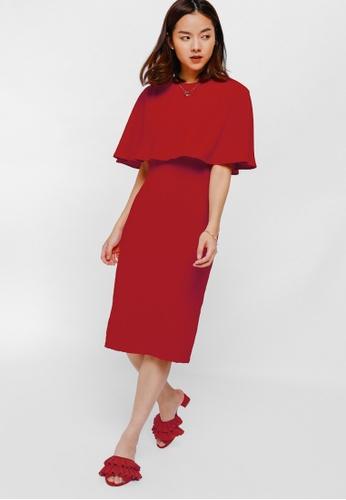 Love Bonito red Uliana Layered Midi Dress 47E04AA2292959GS_1