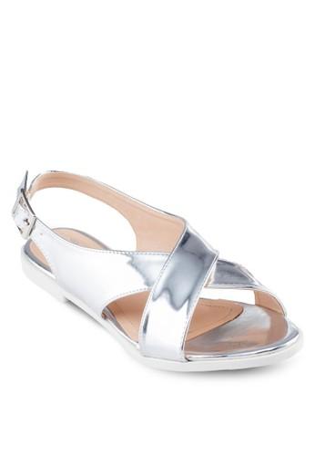 金屬感交叉帶涼鞋,zalora 衣服尺寸 女鞋, 鞋