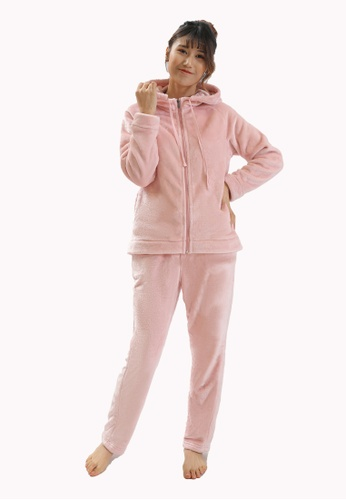 QuestChic pink Cosma Hooded Soft Lounging Set 17116AA7BDAD30GS_1