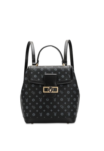 PLAYBOY BUNNY black Women's Monogram Printed Backpack A4F32AC7D87CBCGS_1