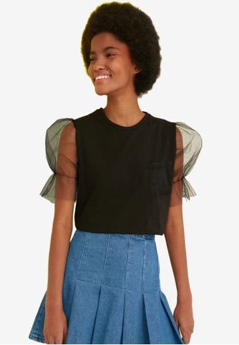 Trendyol black Mesh Puff Sleeve Top D9204AA3663433GS_1