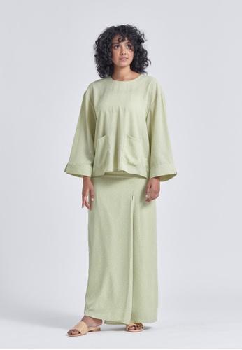 Soonaru green Ezra Softened Green Baggy Kurung A46E3AA7FFDEA3GS_1