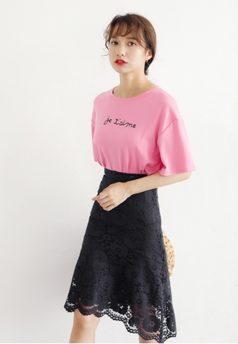 Shopsfashion black and pink Tee and Midi Skirt Set SH656AA02CSNSG_1