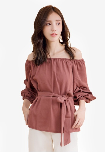 Yoco red Off Shoulder Puff Sleeve Tie-Front Top D8E13AAE17DC89GS_1