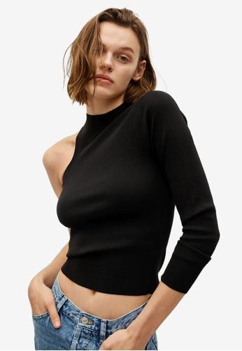 Mango black Knit Asymmetric Top 7EDFCAA56CC9EEGS_1