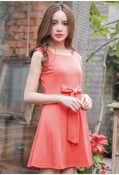 [IMPORTED] Elegant Posture Bow Flare Dress - Red