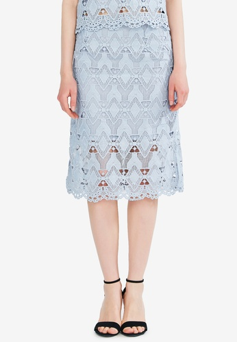 Hopeshow blue Broderie Lace Skirt E5101AA03A61AEGS_1