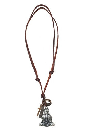 San Marco black and silver Bliss Buddha Leather Necklace 29A04AC7835ED5GS_1