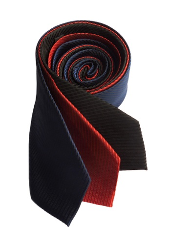 Well Suited black and red and blue Three Piece Solid Stripe Necktie Combo 2 6B09AAC06A4D2AGS_1