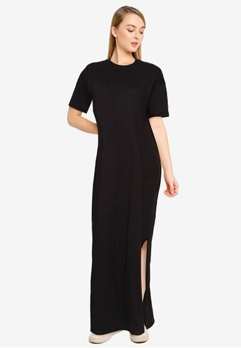 MISSGUIDED black Basic T-Shirt Maxi Dress 4C39CAAAC9C46CGS_1