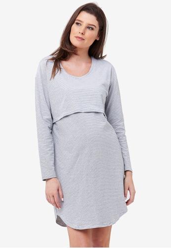 Ripe Maternity multi Maternity Long Sleeve Nursing Nightie 3DF42AAB8A46F3GS_1
