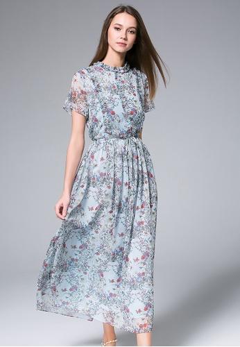 cee711e44f63 LA ROSERAIE blue Blue floral-Print Chiffon Maxi Dress 6704BAAC0076ACGS 1