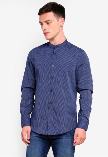 OVS 藍色 Stripe Long Sleeve Shirt FE2F1AADEC3947GS_1