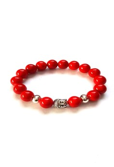 Feng Shui Red Coral Silver Plated Medicine Buddha Bracelet