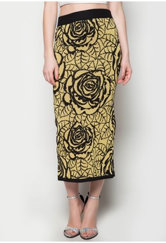 Maxi Knitted Skirt Rose Gold Printed Design