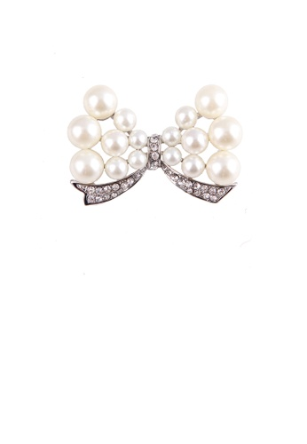 Glamorousky white Fashion Temperament Ribbon Imitation Pearl Brooch with Cubic Zirconia AC958ACE596D57GS_1