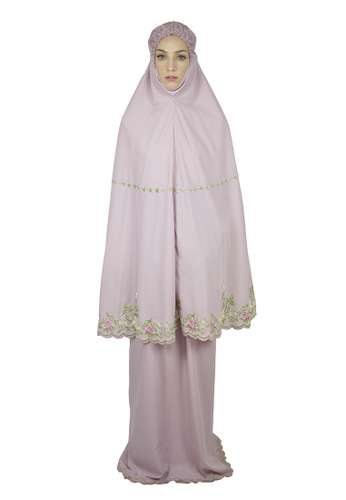 Cantik Butterfly pink Flora Embroidered Telekung Set (Pink) D843FAAC1BBF26GS_1