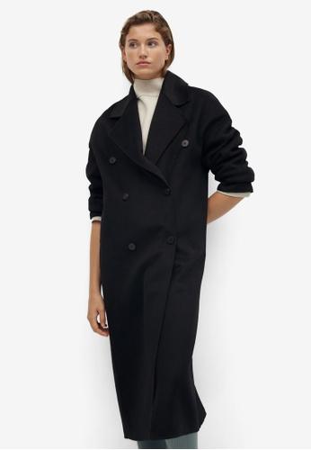 Mango black Wool Double-Button Coat 5D4F6AAEF84E78GS_1