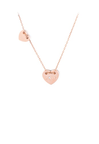 Glamorousky white Fashion and Simple Plated Rose Gold Heart-shaped 316L Stainless Steel Pendant with Cubic Zirconia and Necklace B3C33ACE3EEFCBGS_1