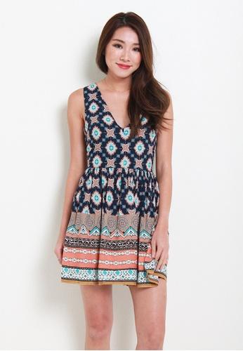 Leline Style blue Lana Print Dress LE802AA36QJFSG_1