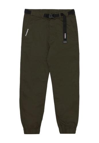 Fingercroxx green Buckle belt pants 0735EAA476E06EGS_1