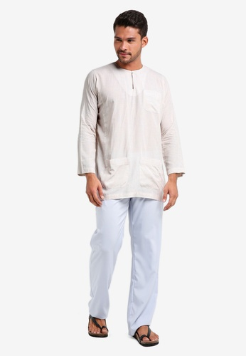 Lubna white and blue Checkered Baju Melayu Teluk Belanga B95EBAABBC1DF4GS_1
