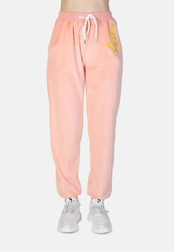 London Rag pink Velvet Cuffed Joggers With Drawstring B4F37AA36B2925GS_1