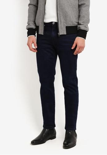 Burton Menswear London 海軍藍色 深藍色 Wash Tyler 窄管裁剪 牛仔褲 BU964AA0RZGIMY_1