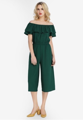 Hopeshow green Off Shoulder Culotte Jumpsuit 1ABD3AA856C3DDGS_1