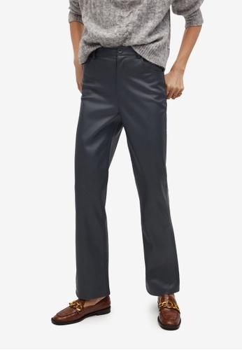 Mango grey Leather Effect Straight Trousers 9CD8BAAED5752FGS_1