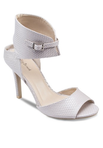 蛇紋繞踝露趾高跟鞋, zalora 台灣女鞋, 鞋