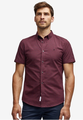 Burton Menswear London 黑色 黑色 And 酒紅色 短袖格紋 牛津襯衫 BA9B3AAE819DA8GS_1