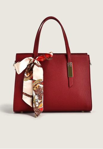 Lara red Business Women's Silk Scarf Bowknot Decorate Handbag Shoulder Bag - Wine Red 28108AC4331AE0GS_1