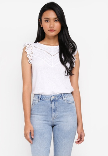 Miss Selfridge white White Cap Sleeve Victoriana Top 9B73AAA8251960GS_1