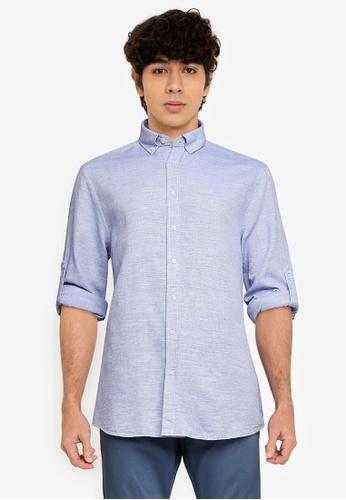 LC Waikiki blue Regular Fit Twill Shirt 25CA7AA2B7D363GS_1
