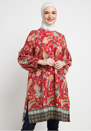 Anakara red and multi Bishop Long Tunic Lourdes 54D52AA0BA6661GS_1
