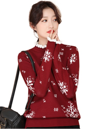 A-IN GIRLS red Fake Two-Piece Lace Collar Sweater AB93FAA85FA0EEGS_1
