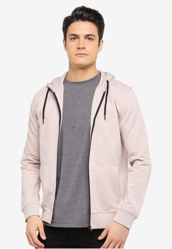 Burton Menswear London pink Pale Pink Zip-Through Hoodie BU964AA0T1I4MY_1