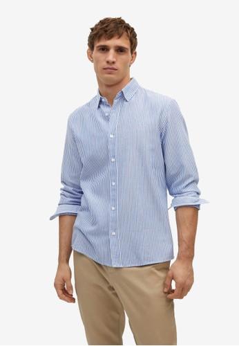 Mango Man blue Regular Fit Striped Cotton Shirt 52475AAEF1671CGS_1