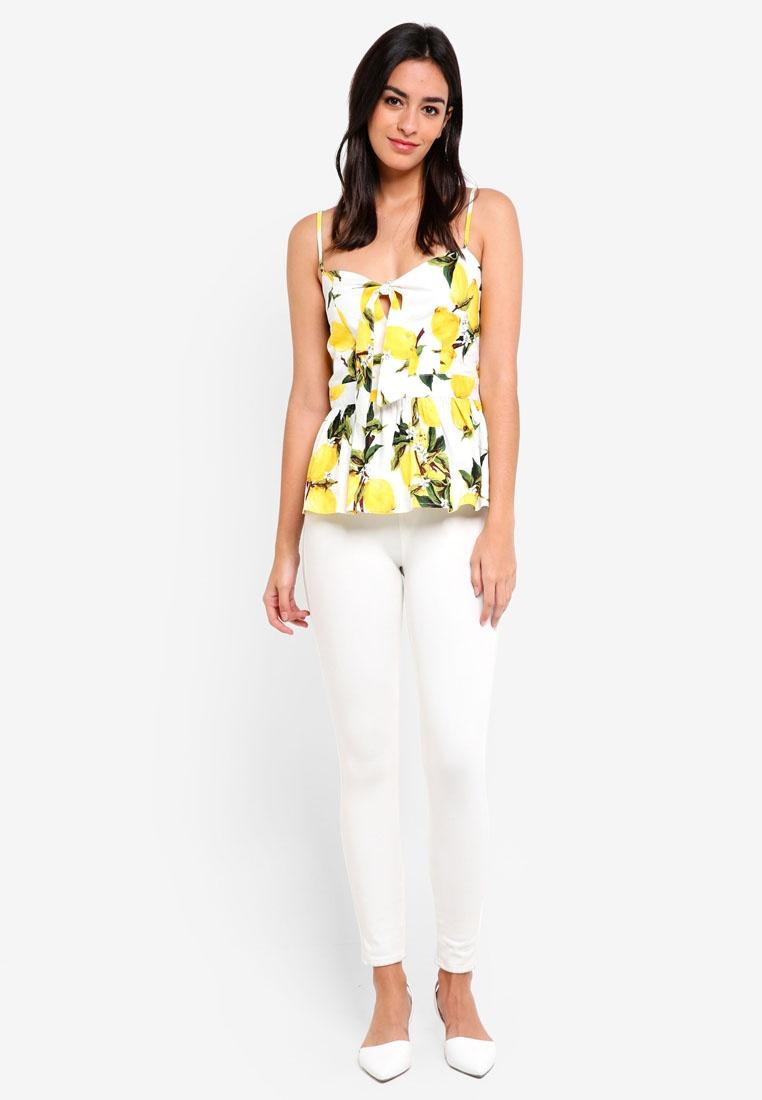 Top ZALORA Details White Bow Lemons Peplum x4wzUYz0qF