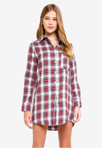 MISSGUIDED white and multi Oversized Check Shirt Dress F1EE8AA1B31399GS_1