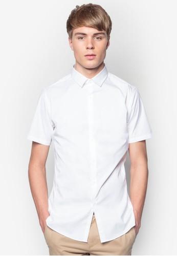 彈性修身短袖襯衫, 服飾esprit outlet台北, 服飾