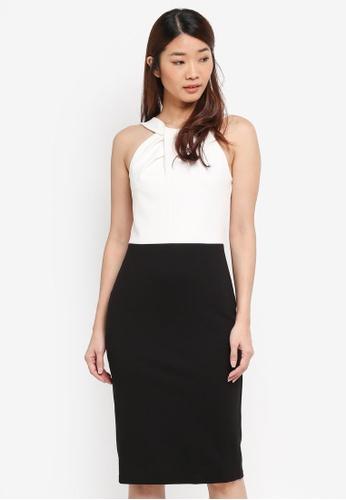 Dorothy Perkins black and white Twist Neck Block Pencil Dress C4028AA2E0495AGS_1