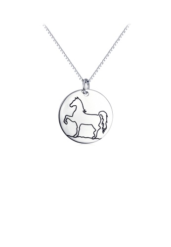 Glamorousky silver 925 Sterling Silver Simple Fashion Horse Pattern Geometric Metal Pendant with Necklace 4FCA5ACE768A91GS_1