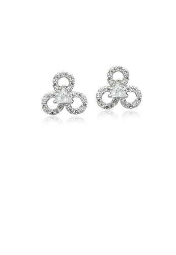 Chomel white and silver Cubic Zirconia Stud Earrings 022A3ACC450125GS_1