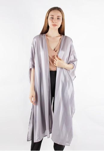MAGNOLIA grey Striped Kimono 9579BAAC095663GS_1