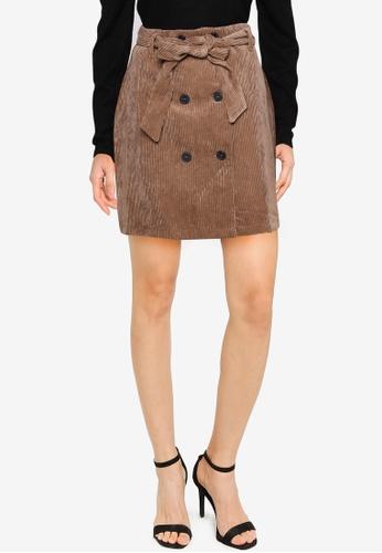 JACQUELINE DE YONG 褐色 Hong Kong 鈕釦燈芯絨裙 BE75CAA92AB335GS_1