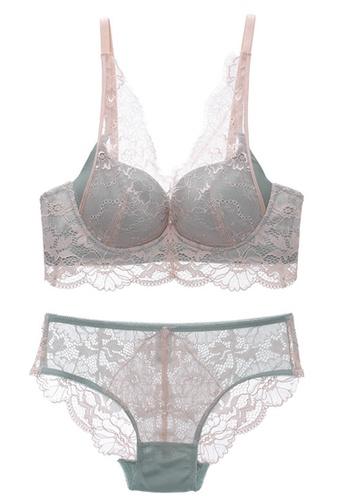 ZITIQUE Sexy Lace Soft Non-steel Ring Bra Set-Green D857AUS50D36D2GS_1